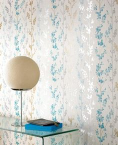 Berries: Teal, Gold & Silver Wallpaper