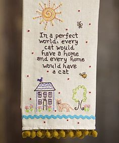 Cat Linen Hand Towel $14.95