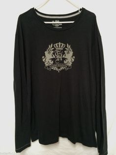 TOMMY HILFIGER MENS 2XL XXL LONG SLEEVE SHIRT 2 LION CREST LOGO BLACK TRIM FIT