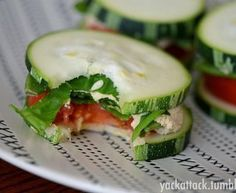 Cucumber sandwich with tuna and tomatoes