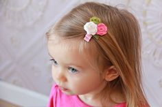Pink Sweet Pea and White Felt Roses Hair Clip Girls by Diddlebugs, $3.50