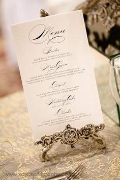 Elegant menus - Canvas Stationery Boutique