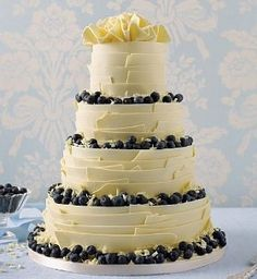 white cake with blueberry filling