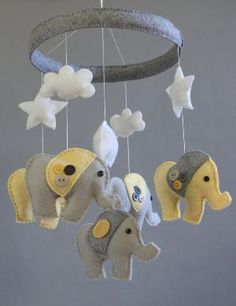 Baby Crib Mobile- Baby Mobile- Baby Elephant Mobile- Gender Neutral- Yellow and Gray Felt Nursery Mobile (Pick Your Colors) by mavis