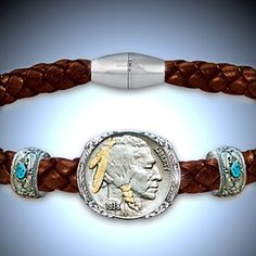 The Indian Head Nickel Men's Leather Bracelet - Detail