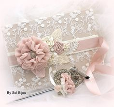 Large Wedding Guest Book and Pen Set Guestbook in Champagne, Blush and Ivory with Lace, Crystal Jewels and Pearls