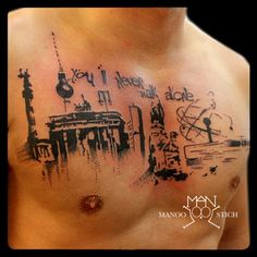manoo stich tattoos, berlin www.stichpiraten.de #berlin #skyline