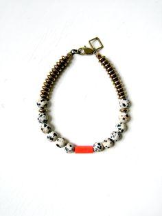 Orange speckle bracelet V02. $32.00, via Etsy.