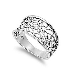 Sterling Silver Woman's Web Design Cute Ring Fashion 925 Band 11mm Sizes 3-13 | eBay