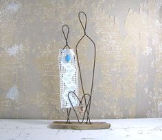Wire Sculpture Wedding Decor on Driftwood Rustic Anniversary Gift Mixed Media Art