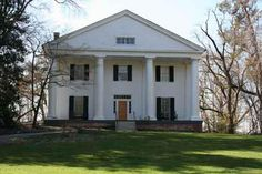 Bulloch Hall in Roswell, Georgia  Different top window design, balcony, Portico, and screened in breakfast wing