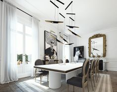 Dining Room. Renders for Apartment in St. Germain.