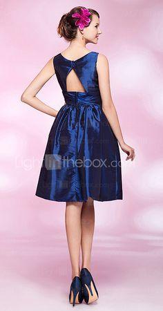 A-line Square Knee-length Taffeta Cocktail Dress (Back) ($97.99)