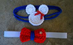 4th of July Bundle crochet headband Minnie mouse by Karohook, $6.00 Independence Day