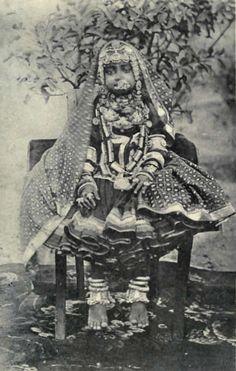 Vintage India laden little Indian gopi girl