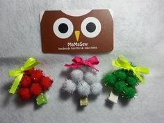 3 Pcs Pom Pom Christmas Tree Hair Clips for Baby and Toddler (Alligator Clip) - pinned by pin4etsy.com