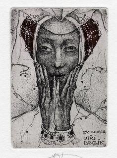Ex Libris bookplate for Jiri Pavlik by Czech-based artist, Marina Richter (Moscow, b.1962)