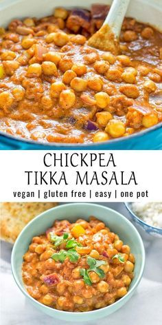 This vegan Chickpea Tikka Masala recipe is made with just 5 ingredients. Indian dishes are perfect for vegans, so easy to adpapt, and still tasty! Works in the instant pot and crockpot too. #vegan #glutenfree #dairyfree #vegetarian #chickpeas #dinner #lunch #onepotmeals #mealprep #worklunchideas #contentednesscooking