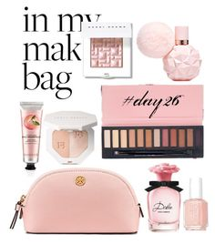 """""""In my make-up bag  day 26"""" by flamingofashion ❤ liked on Polyvore featuring beauty, Tory Burch, Dolce&Gabbana, Essie, Bobbi Brown Cosmetics and The Body Shop"""