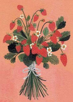 by becca stadtlander, strawberries, colour, illustration, design Illustration Botanique, Illustration Noel, Botanical Illustration, Digital Illustration, Art Inspo, Art Mignon, Wow Art, Poster Prints, Art Prints
