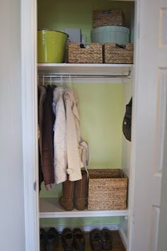 I have this closet.  Along with a gazillion other people.  Never thought to put a hook and shelf in for purse and more useable space.