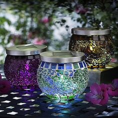 Mosaic Solar Lights - From Lakeland Great for those without time or talent to DIY. She Sheds, Candels, Back Patio, Garden Accessories, Solar Lights, Coastal Decor, Houseplants, Outdoor Gardens, Glass Vase
