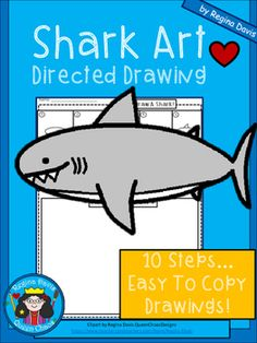A+ Shark Art: Directed Drawing How To Draw Steps, Learn To Draw, Shark Art, Directed Drawing, Animal Drawings, Drawing Animals, Ocean Themes, Shark Week, Drawing Practice