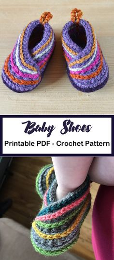 Make a pair of kimono baby shoes. Baby Shoes Crochet Patterns – Baby Gift - A More Crafty Life #baby #crochet #crochetpattern