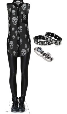 """Skulls 3"" by bvb3666 ❤ liked on Polyvore"