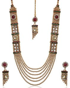 Unique and stylish kundan necklace set by adiva