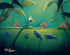 Fishy Friends by Rob Kaz Fish Drawings, Cute Drawings, Art Painting Gallery, Cartoon Sketches, Art Friend, Fish Art, Cute Illustration, Cute Art, Amazing Art