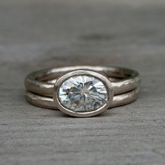 Oval Forever Brilliant (TM) Moissanite and Recycled 18k Palladium White Gold Alternative Engagement Ring, Made to Order. no prongs!