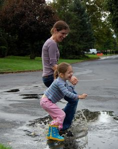 Puddle Jumping is always fun for the kiddos – but waaaaay more fun when Mom or Dad joins in too!