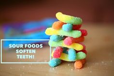 Sour foods usually have high acidity which can weaken your tooth enamel. Be sure to brush for 2 minutes, twice a day! Dental Health, Dental Care, Oral Health, Health Tips, Dentistry For Kids, Dental World, Rancho Santa Margarita, Sour Foods, Dental Kids
