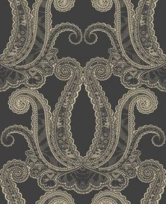 Yolande (W0039/05) - Clarke & Clarke Wallpapers - A large scale delicate lace effect damask design. Shown in the Jet cream on black colourway. Please request sample for true colour match. Paste the wall.
