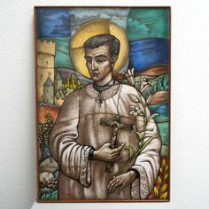 Catholic Priest, Catholic Art, Saint Anthony Of Padua, Glass Artwork, White Lilies, Spiritual Gifts, Patron Saints, Opaline, Vibrant Colors