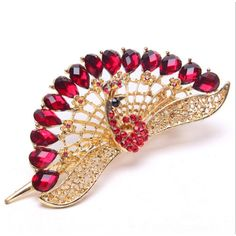 YMXING Women's Vintage Crystal Phoenix Peacock Hair Clip Red >>> You can get more details by clicking on the image.