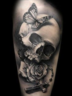 Skull, Rose, Butterfly, & Rosary ensemble #tattoos #tattoo idea - I like the absence of color, the detail, and shadowing