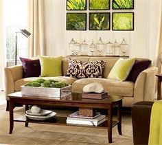 3 This The Beige Couch With Green And Purple Accent Pillows Cream Walls