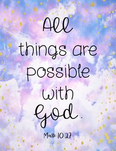 All things are possible with God (Mark 10:27). Inspirational Bible Verse Posters for Kids - Each printable poster beautifully displays a verse from the Bible with a cute watercolor design. These posters tie in perfectly with lessons around adversity, growth mindset, acceptance, perseverance, and more! #bible #posters #sundayschool #bibleposters #bibleverses #biblequotes Motivational Phrases, Inspirational Quotes, Bible Quotes, Bible Verses, Yoga Quotes, Quotes Quotes, Status Quotes, Life Status, Trust Quotes