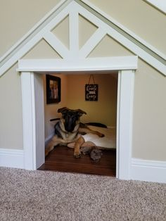 32 Rustic Indoor Dog Houses Design Ideas For Small Dogs To Have - Most people think of outdoor dog houses when they thing of a dog house. However, there are also indoor dog houses. Which are perfect if you want to ke. Large Dog House, Build A Dog House, Dog House Plans, Animal Room, Animal House, Under Stairs Dog House, House Stairs, Grande Niche, Dog Bedroom