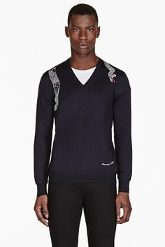 5f39e47b086bbc Alexander McQueen   Navy Wool and Silk Snake-Embroidery Sweater Alexander  Mcqueen Clothing