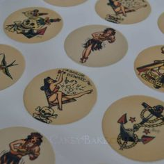 Edible Cupcake Toppers X 12 Sailor Jerry Tattoo Theme