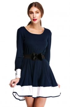 New Fashion Women's Long Sleeve Sundress Expansion Hem Slim Fit Skirt Gown Tunic Dress with Free Belt Hot Sell