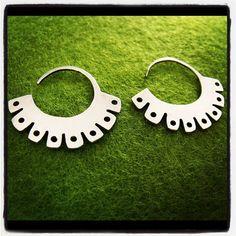 Tribal silver earrings ethnic silver hoop earrings by atmapu Jewelry Design Earrings, Sterling Silver Earrings, Silver Jewelry, Jewellery, Jewelry Tools, Jewelry Accessories, Jewelry Photography, Modern Jewelry, Handmade Jewelry