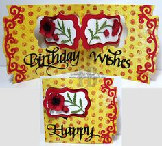 Frances Byrne using the Pop it Ups Katie Label Pivot Card and Agatha Edges die sets by Karen Burniston for Elizabeth Craft Designs. - Happy Birthday Wishes