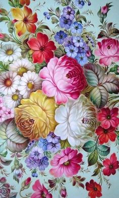 Zhostovo handicraft from Russia. A floral pattern.