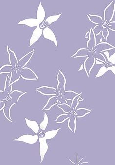 Japanese Clematis Flower Stencil | purple