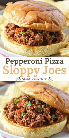Easy recipe for pepperoni pizza sloppy joes! Delicious family dinner made with ground beef and all the cheesy, saucy goodness of homemade pizza. dinner beef Pepperoni Pizza Sloppy Joes - Adventures of Mel Ground Beef Recipes Easy, Beef Recipes For Dinner, Fun Easy Recipes, Healthy Crockpot Recipes, Easy Meals, Cooking Recipes, Vegetarian Recipes, Pepperoni Recipes, Beef Pepperoni