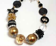Black and Gold Chunky Bling Necklace